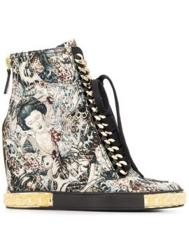 Japanese Print Wedged Boots  - Casadei