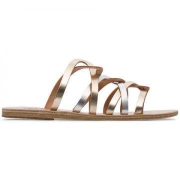 Metallic Gold And Silver Donousa Leather Sandals - Ancient G