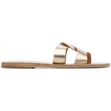 Gold Desmos Crossover Leather Sandals - Ancient Greek Sandal