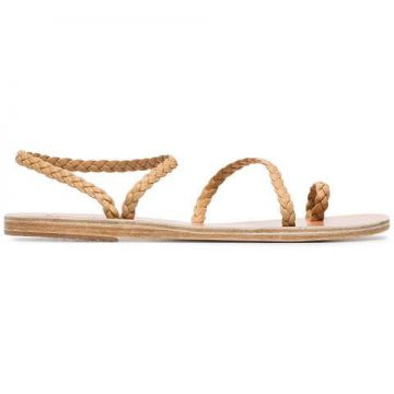Brown Elefteria Braided Leather Sandals - Ancient Greek Sand