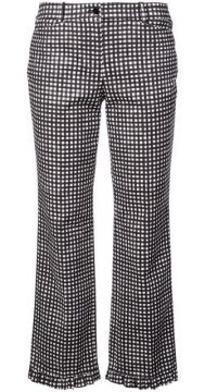 Gingham Ruffle-hem Trousers - Michael Kors Collection