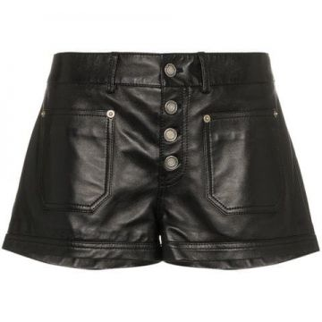 High-waisted Leather Short - Saint Laurent