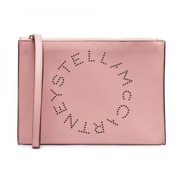 Wrist Strap Zipped Faux Leather Clutch - Stella Mccartney