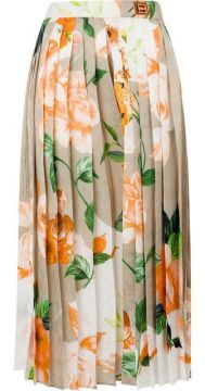 Floral Print Pleated Skirt - Off-white