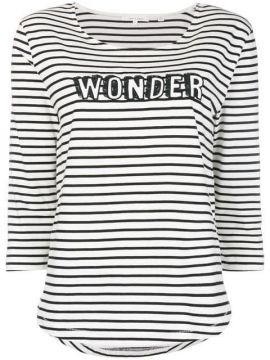 Slogan Striped Fitted Top - Chinti & Parker