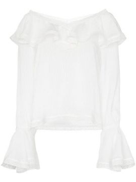 Ruffle Trim V-neck Blouse - By Timo