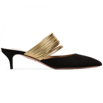 Black And Metallic Gold New Rendezvous 45 Suede Leather Mule