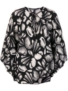 Shell Print Crepe Tie Blouse - Alexander Mcqueen