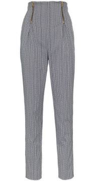 High-waisted Houndstooth Cotton Blend Trousers - Versace