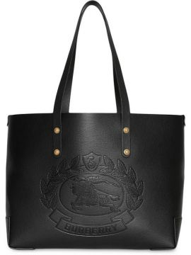 Small Embossed Crest Leather Tote - Burberry