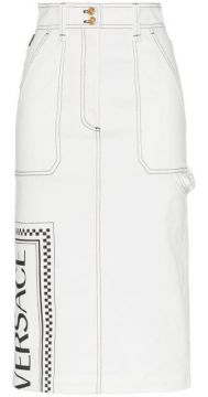 Fitted Logo Print Skirt - Versace