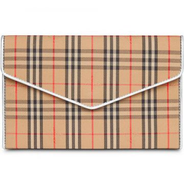 Medium 1983 Check And Leather Envelope Pouch - Burberry