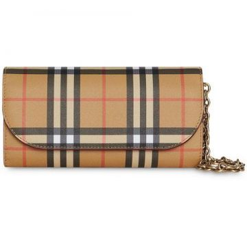 Vintage Check And Leather Wallet With Detachable Strap - Bur