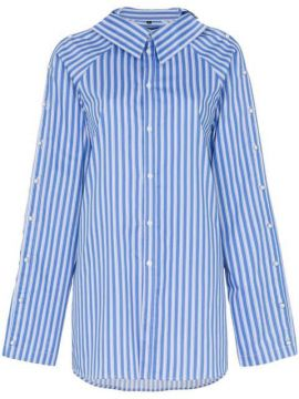 Button Detail Stripe Cotton Shirt - Blindness