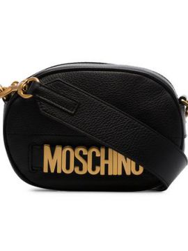 Black Logo Leather Camera Bag - Moschino