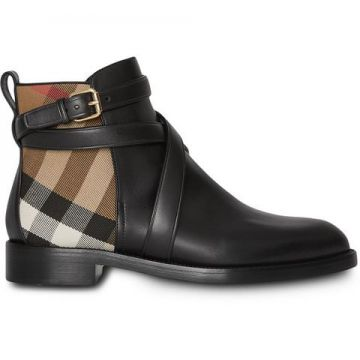 House Check And Leather Ankle Boots - Burberry