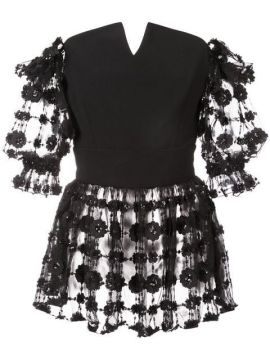 Embroidered Floral Blouse  - Christian Siriano
