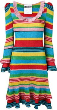 Rainbow Striped Knitted Dress - Moschino