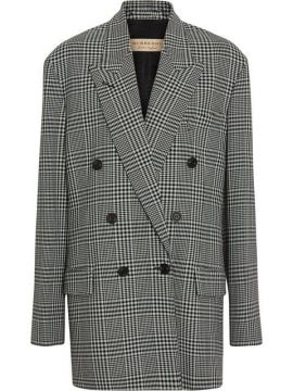 Prince Of Wales Check Wool Oversized Jacket - Burberry