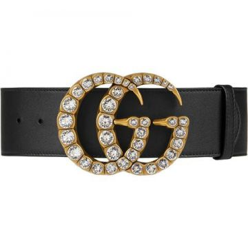 Leather Belt With Crystal Double G Buckle - Gucci