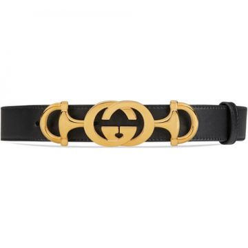 Leather Belt With Interlocking G Horsebit - Gucci