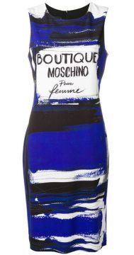 Short Cady Dress With Perfum Label Print - Boutique Moschino