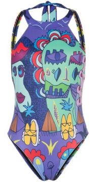Printed High Neck Backless Swimsuit - Ellie Rassia