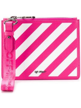 Striped Clutch Bag - Off-white