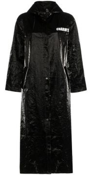 Graphic Print Mid-length Faux Leather Raincoat - Charms