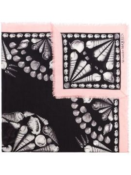 Black And Pink Deep Sea Skull Print Wool Blend Scarf - Alexa