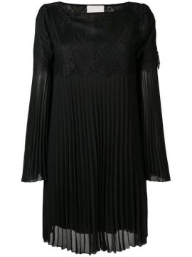 Lace Insert Pleated Dress - Aniye By