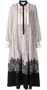 Floral Lace Panel Shirt Dress - Costarellos