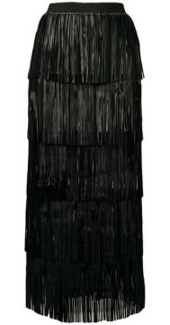 Long Fringed Tiered Skirt - Caban Romantic