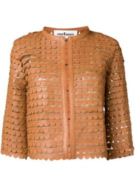Scalloped Pattern Cropped Jacket - Caban Romantic