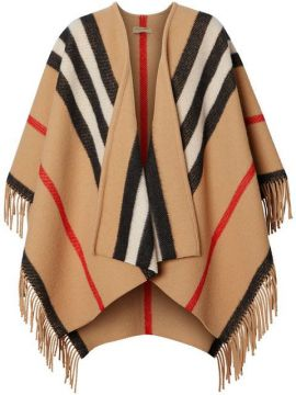 Striped Wool Cape - Burberry