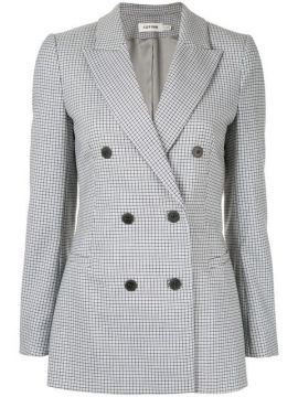 Houndstooth Double Breasted Blazer - Cefinn