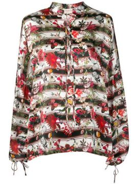 Butterfly Print Blouse - Black Coral