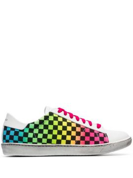 White Viper Rainbow Check Low-top Leather Sneakers - Amiri