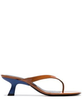 Brown Beep 45 Patent Leather Thong Sandals - Simon Miller