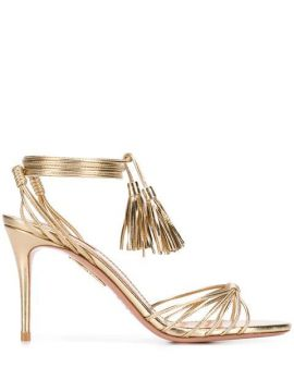 Metallic Ankle Tie Sandals - Aquazzura