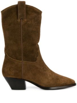 Suede Western Boots - Ash