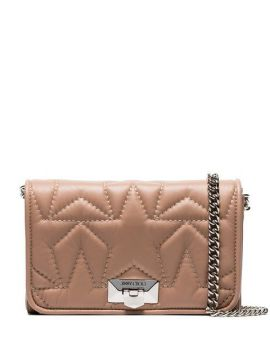 Ballet Pink Helia Star Embroidered Leather Clutch - Jimmy Ch