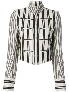 Striped Print Cropped Jacket - Ann Demeulemeester