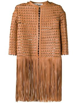 Leather Embroidered Coat With Fringes - Caban Romantic