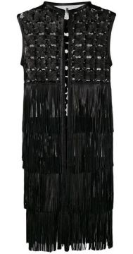 Embroidered Leather Coat With Fringes - Caban Romantic