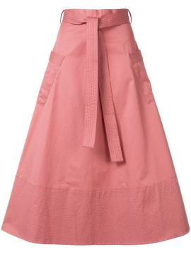 Belted A-line Midi Skirt - Co