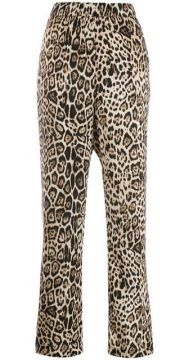 Side Stripe Leopard Print Trousers - Cambio