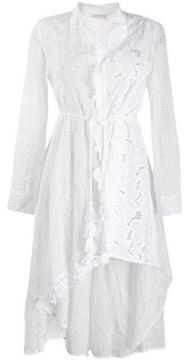 Asymmetric Broderie Anglaise Shirt Dress - Anjuna