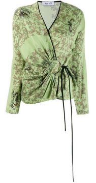 Floral Print Wrap Blouse - Act N°1