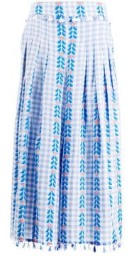 Embroidered Check Cropped Trousers - Dodo Bar Or